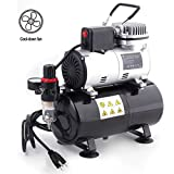 Timbertech Professional Upgraded Piston Airbrush Compressor with Motor Cool Down Fan ABPST08 Oil-Less Quiet Airbrush Compressor with 3L Tank