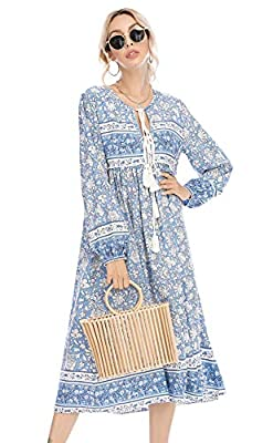 Material: 60% Cotton Blend Very Soft Material Beautiful Bohemian Midi Dresses with a Deep V-neck and Front Tie at Neckline Flowy Printed Dress with Long Sleeves, Suitable for: Daily , Vacation, Beach etc. Please Refer to the Product Description for D...