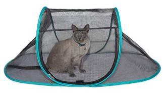 Nala and Company - The Cat House Outdoor Pet Enclosure for Indoor Cats - 43' x 23' x 18' - Portable, View, Pop Up Lounger Tent for Deck, Patio, Porch, Yard, Balcony & RV Travel - with Storage Pouch