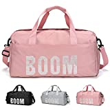 FEDUAN Boom Bolsa Deportiva Deporte de Viaje de compres con Compartimento para Zapatos Bolsillo Mojado Moda Impermeable para Hombres y Mujeres Yoga Pilates Playa Ocio Sauna Festivo Rosa Pink