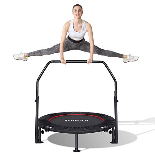 Toncur Fitness-Trampolin Ø ca 102 cm, Faltbarer Rebounder, 5-Fach höhenverstellbarer Haltegriff,...