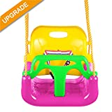 Jaketen 3-in-1 Toddler Swing Seat Hanging Swing Set for Playground Swing Set,Infants to Teens Swing (Pink)