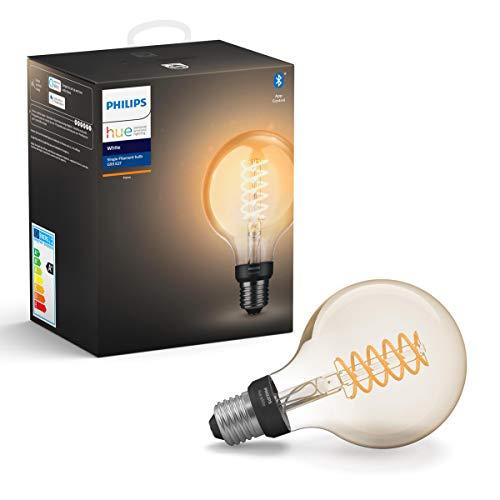 Philips Hue Bombilla Inteligente LED E27, con Bluetooth, Filamento Globo G93, Luz Blanca Cálida, Compatible con Alexa y Google Home
