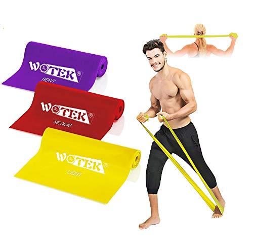 WOTEK Bande Elastiche Fitness-Elastici Fitness con 3 Livelli di Resistenza: 1.5m/1.8m/2m Banda Elastica per Uomo e Donna, perfette per Pilates, Yoga, Riabilitazione, Stretching, Allenamento