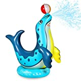 Anpro Sea Lion Sprinkler for Kids - Airtight Leakproof Inflatable Sprinkler & Splash Toys with Ball for Outside, Outdoor Yard Water Toys for Boys Girls Aged 3 Years and Up