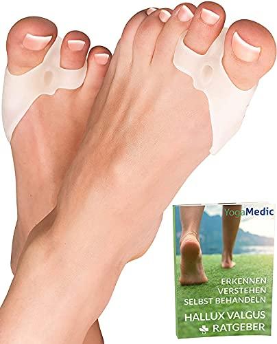 6x Tutore Alluce Valgo Correttore Trasparente YogaMedic - Separatore Dita Piede - Supporti per i piedi - Raddrizza dita silicone, dita a martello