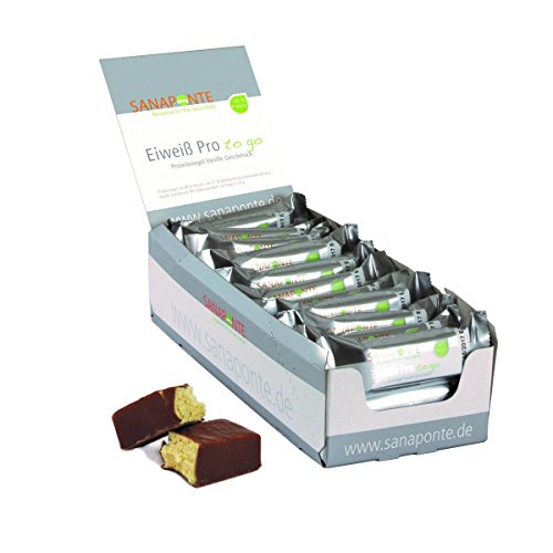 Sanaponte Eiweiß Pro'to go' Riegel 49% Protein (24x 35g Riegel) Low Carb Protein Riegel Vanille Geschmack - Protein Bar - nur 129 kcal pro Riegel