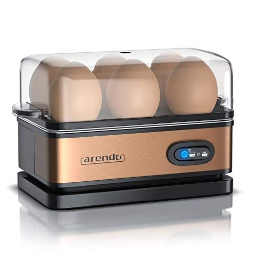Arendo – Cuiseur à œufs avec fonction maintien au chaud - 1 à 6 œufs - Dur, mollet ou à la coque - Indicateur lumineux - Verre doseur avec perce-œufs - 400 W - Base anti-dérapante, Couleur noir cuivre