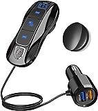 SONRU Transmetteur FM Bluetooth V5.0, Émetteur Autoradio Bluetooth Kit Mains Libres pour Voiture Double ports USB (QC3.0 + 5V/2.4A) avec câble 1,1 M, Son Cristal A2DP, Affichage de Tension de Batterie