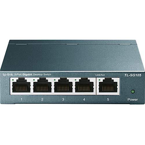 TP-Link TL-SG105 Switch 5 Porte Gigabit, 10/100/1000 Mbps, Plug & Play, Nessuna Configurazione Richiesta, Struttura in Acciaio