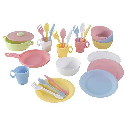 Kidkraft 63027 - Servizio da Tavola da 27 Pezzi, Giocattolo per Bambini, Multicolore (Pastello)