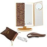 RoLeDo Makeup Vanity Mirror with Lights, 2X5X10X Magnifying, 36 Led Lighted Mirrors with Touch Screen, 180° Adjustable Rotation,Powered USB or Battery, Beauty Portable Trifold, Gift Set (Leopard Print