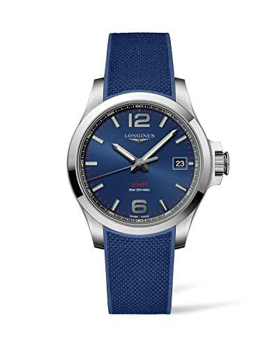 Longines Conquest VHP Herren-Armbanduhr, blaues Zifferblatt, L37164969