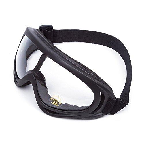 Suntime Gafas Moto al Aire Libre Gafas de Sol Deportivas Ajustable Portable a Prueba de Polvo / Viento con Protección UV 400 de Gran Claridad para Esquí Golf y Correr Juegos (Transparente)