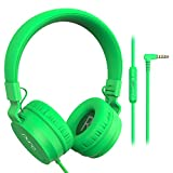 PuroBasic Volume Limiting Wired Headphones for Kids, Boys, Girls 2+ Foldable & Adjustable Headband – by Puro Sound Labs, (Green)