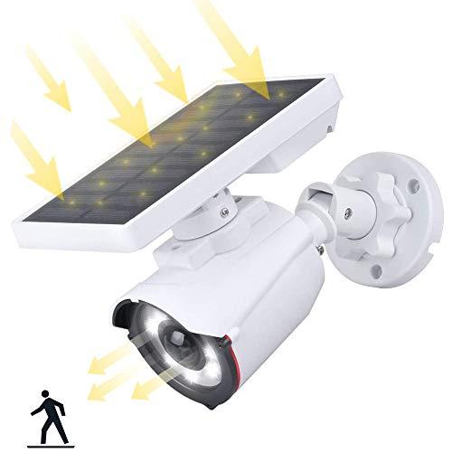 Falsa Telecamera di Sorveglianza WiFi Esterno con Luce Solare con Rilevamento Movimento, Aottom Luce Solare 8 LED Faretto, Lampade Solari da Giardino,Luci Giardino a Energia Solare, Impermeabile IP66