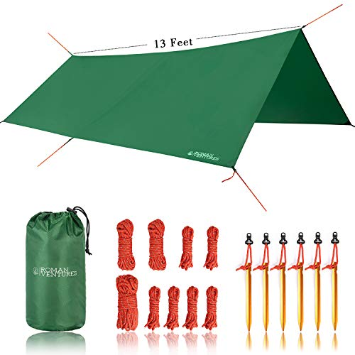 Roman Ventures 13 Foot Rain Fly for Hammock Light Weight, Diamond-Ripstop Polyester Hammock Rainfly- 2000 PU Waterproof Eno Rain Cover Rainfly Backpacking Tarp (13 Foot Rectangle)