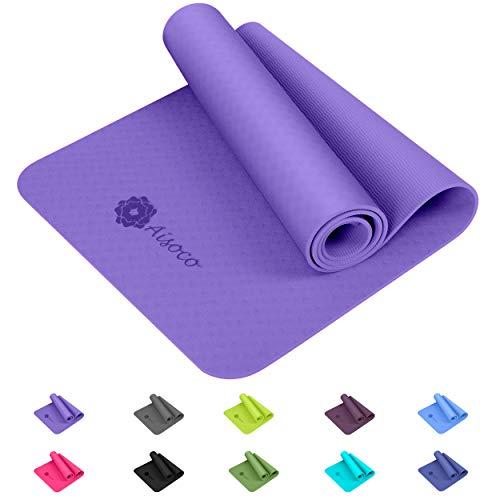 Aisoco Stuoia di Yoga Premium TPEAntiscivoloEcologicoInnocuo per la Pelle,Tappetino per Il Pilates,...