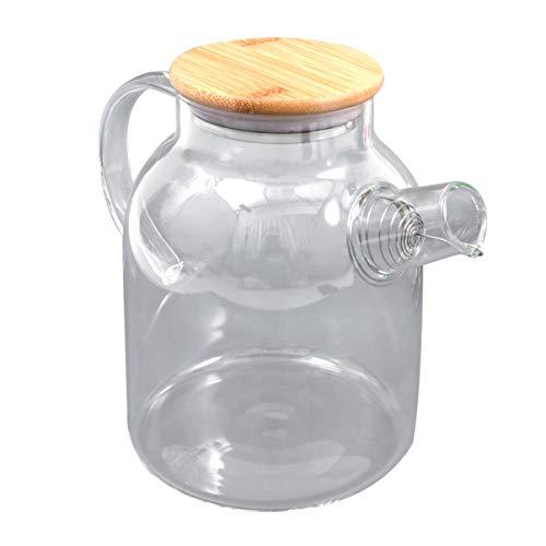Hemoton Tetera de cristal de 1,6 l, segura para estufa, tetera transparente con boquilla de filtro extraíble para hojas sueltas y hervidor de agua de té floreciente