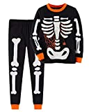 Boys Halloween Pajamas Glow in The Dark 100% Cotton Pjs Toddler Pjs Kids Sleepwear(3T,Skeleton)
