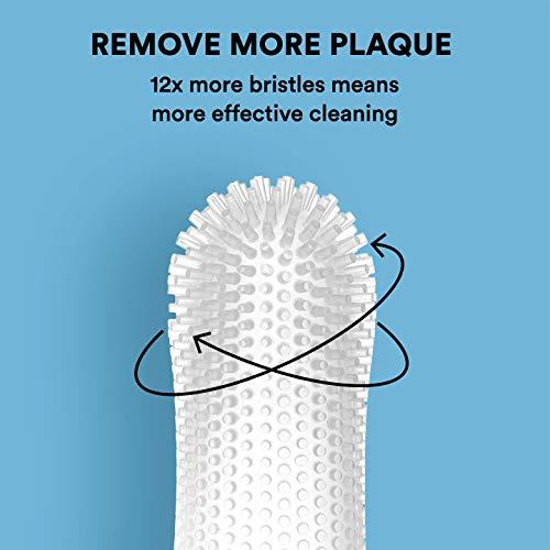 Barkley's 360º Dog Fingerbrush Toothbrush - Ergonomic Design - Full Surround Bristles for Easy Cleaning - Set of 2, Clear