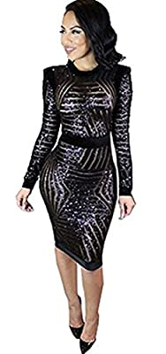 Note: The front of this dress is See Through, and the Sequins Stripes Cut is RANDOM. The back of this dress is Velvet Features of dress: Sequin Material, See Through Mesh Splice, Round Neck, Long Sleeves, High Waist Slim Fit Bodycon Cocktail Party Mi...
