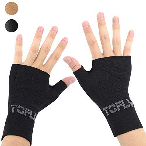 TOFLY Compression Arthritis Gloves, 1 Pair, Thumb & Wrist Support for Men Women, 20-30mmHg Compression Wrist Sleeve for Carpal Tunnel, Wrist Pain & Fatigue, RSI, Tendonitis, Sports, Daily Use, Black S