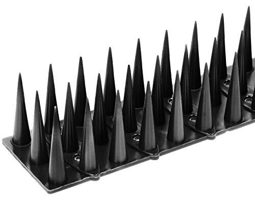 KADAX Vogelabwehr aus Kunststoff, 52 x 4,5 x 3,5 cm, Tierabwehr, 3-reihig, Spikes für Katze, Marder, Taube, Zaun, Fensterbank, Dach, Taubenabwehr, Vogelschutz, robust (12, Schwarz)