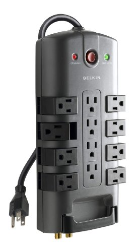 Belkin BP11223008 12-Outlet Pivot-Plug Power Strip Surge Protector w/ 8ft Cord  Ideal for Computers, Home Theatre, Appliances, Office Equipment and More (4,320 Joules)