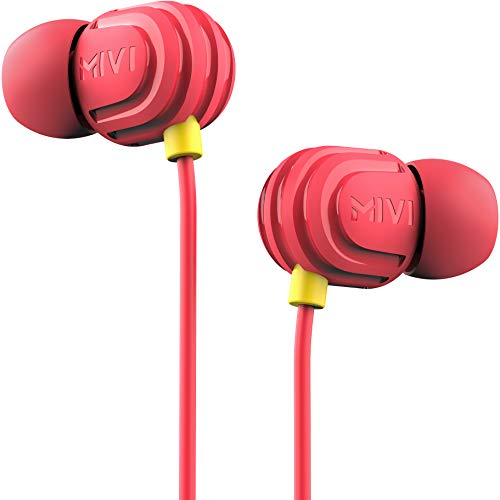 Mivi Rock and Roll E5 Wired Earphones with HD Sound and Extra Powerful Bass with in-line Mic, Tangle Free & Extra Length Cable | Earphones for Mobile | Red, One Size