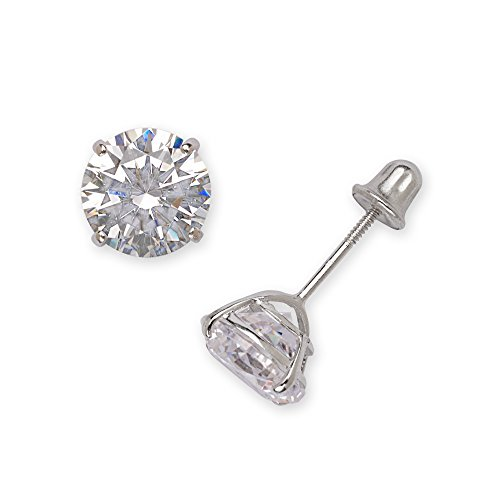 Real 14k White Gold Solitaire Round Cubic Zirconia CZ Stud Screw-back Earrings for women (2mm-7mm) (5mm-white-gold)