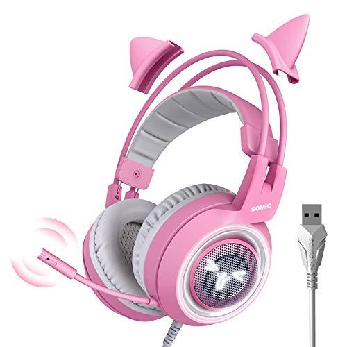 Somic G951 Cuffia da gioco Rosa per PS4 PC, 7.1 Cuffie con orecchio Cat staccabile Virtual Surround Sound con LED, Microfono per Ragazze (Jack USB)