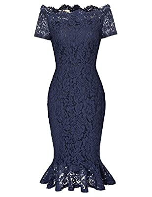 Feature: Lace, Slimming Sheath Style, Short sleeve, Off-the-shoulder, Full Lace Short Mermaid Pencil Dress, Zip Back A beautiful lace dress is a must have in every woman's closet Occasion: Evening,Cocktail,Going out,Wedding Party,Business and Formal ...