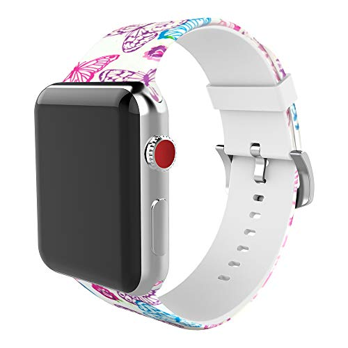 BMBEAR Floral Bands Compatible with Apple Watch Band 38mm 40mm Soft Silicone Fadeless Pattern Printed Replacement Sport Bands for iWacth Series 4 3 2 1 Butterfly