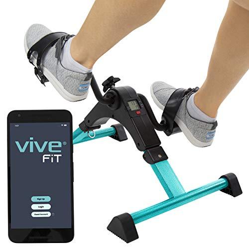Vive Desk Bike Cycle - Foot Pedal Exerciser - Foldable Portable Foot, Hand, Arm, Leg Exercise Pedaling Machine - Folding Mini Stationary Bike Pedaler, Fitness Rehab Gym Equipment (Silver)