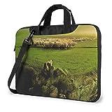 15.6″Durable Hombro Mensajero Bolsa maletín PC Granja de ovejas y Perros Moda Impermeable Ordenador Portátil/portátil/Tablets