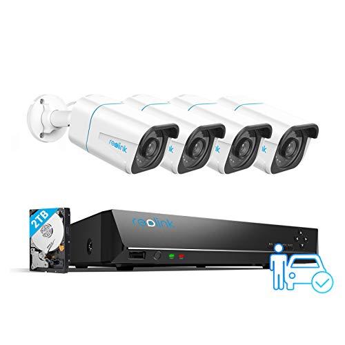Reolink 8CH 4K Kit Videosorveglianza IP PoE, Sistema di Sorveglianza con Rilevamento Intelligente di Persone/Veicoli, 4K 2TB HDD NVR con 4X8MP Telecamera PoE Esterno, Registrazione 24/7, RLK8-810B4-A
