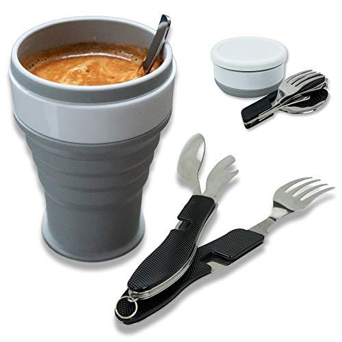 Set Vaisselle Camping avec Couverts Pliables Détachables et Tasse à Café...