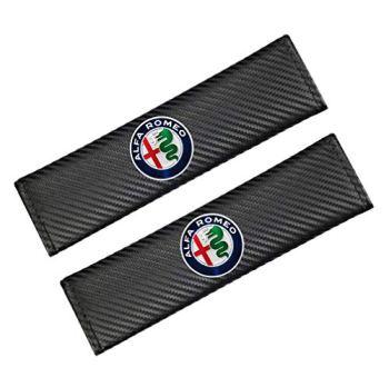 Carbon Fibre Effect Racing Style Seat Belt Pads. Pair Supplied. GTV Alfasud 4C Mito Giulia Veloce Giuletta Spider Stelvio Quadrifoglio Brera