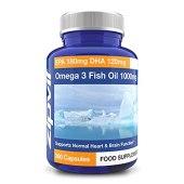 Omega 3 Olio di Pesce 1000mg | 360 Softgels | EPA 180mg DHA 120mg | Sostiene la salute del Cuore, del Cervello e degli Occhi | FORNITURA DI UN ANNO