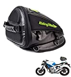 Motorcycle Tail Bag Riding Tribe Motorcycle Seat Bag Waterproof PU Leather Luggage Carry Bag Tool Storage Bag for Honda Yamaha Suzuki Kawasaki Harley, 4 Liter, Black