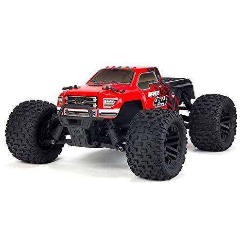 ARRMA 1/10 Granite Mega 4x4 RC Monster Truck 4WD RTR with 2.4Ghz Spektrum Radio, 7C 2400mAh NiMH Battery & Charger, Red/Black (ARA102714T2)