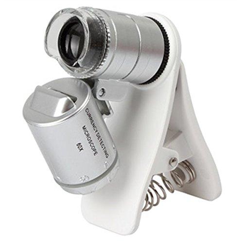 OBI Microscopio Universal Mini de 60x para Celular con Clip Luz LED y UV