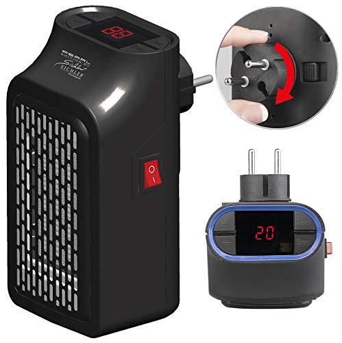 Sichler Haushaltsgeräte Steckdosenheizlüfter: Mini-Steckdosen-Heizlüfter mit Timer, 2 Geschwindigkeits-Stufen, 350 W (Mini Heizlüfter mit Thermostat)