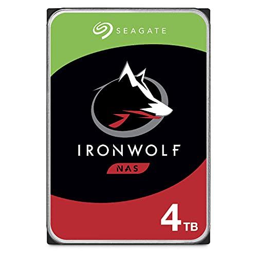 Seagate IronWolf, 4 TB, NAS, Disco duro interno, HDD, CMR 3,5' SATA 6 GB/s, 5900 RPM, caché de 64 MB para almacenamiento conectado a red RAID, 3 años de Rescue, Paquete Abre-fácil (ST4000VNZ08)