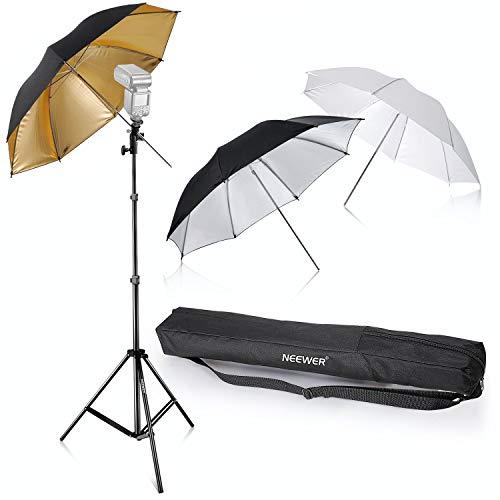 Neewer® Flash Mount Tres paraguas Kit 33'/84cm Blanco Suave/Plateado Reflectante/Dorado...