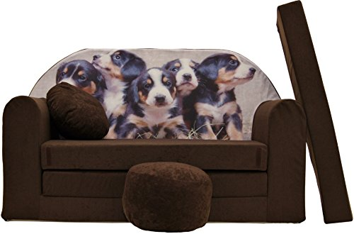 ProCosmo K7, divano letto futon con pouf/poggiapiedi/cuscino, in tessuto, per bambini, 168x 98x 60cm, marrone
