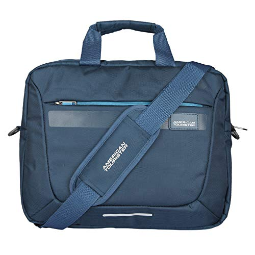 American Tourister Unisex Amt Rexton 01 Navy Lightweight Laptop Messenger Bag with Multiple...