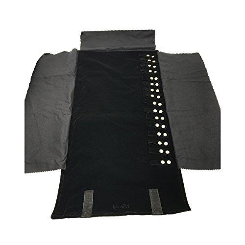 UnionPlus - Rotolo portagioie da viaggio in velluto, per collane, orecchini, anelli, colore: nero e...