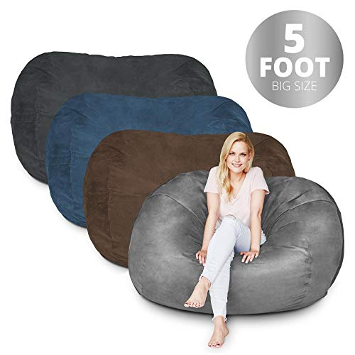 Lumaland Bean Bag Chair | 5 Foot & Dark Grey | Microsuede...